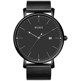 BUREI Herren minimalistische schwarze ultra-dünne Uhr mit Analog-Zifferblatt mit Datumsanzeige und Milanese-Armband - 1