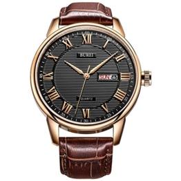BUREI klassisch Einfache Herrenuhr Tag und Datum Analog Quarz Herren Armbanduhr mit Lederband und römische Ziffern (braun-schwarz) - 1