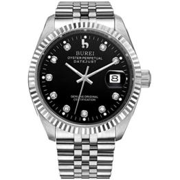 BUREI Luxus Herren Armbanduhr Automatik Mechanische Selbstaufzug Automatikuhr mit Saphirglas Datum Kalender und schwarz Zifferblatt Diamant - 1