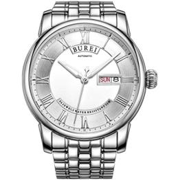 BUREI Luxus Herrenuhr Automatik mechanische Uhr weiß Ziffernblatt mit Tages und Datumsanzeige Edelstahlarmband - 1