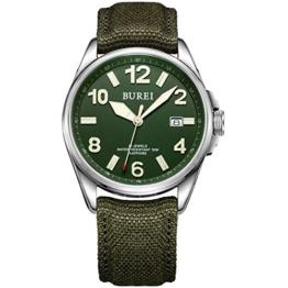 Burei® Männer-Militärstil Automatisch Tagesanzeige-Armbanduhr Wasserdichte Armbanduhr mit Canvas-Strap (Grün 2) - 1