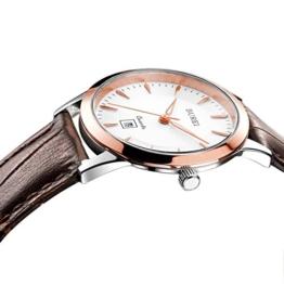 BUREI Rosegoldene Damen Armbanduhr fürs Kleid mit Weißem Ziffernblatt Datumsanzeige Saphirglas e und Braun Echtes Lederband - 1