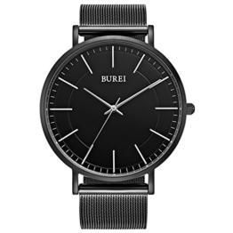 BUREI schwarze minimalistische Herrenquarzuhr mit ultra-dünnen großen Zifferblatt, silbernen Zeigern und Milanese-Armband - 1
