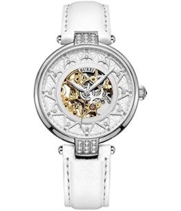 BUREI Skelett Damen Automatikuhr Selbstaufzug Frauen Uhren mit Saphirglas und Kristalle in weißem Lederarmband Geschenke für Frauen - 1