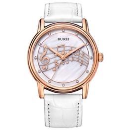 BUREI Stilvolle Casual Damenuhr Quarz Frauen Armbanduhr mit Perle Anzeigen Juwel und weiß Echtes Lederband - 1
