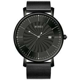 BUREI Unisex Analog Quarz Uhren Ultra Dünn Schwarz Armbanduhr mit Grosse Ziffernblatt Datum Kalender und Milanaise Mesh Band Luxus Einfaches Design Armbanduhr für Mann Frauen - 1