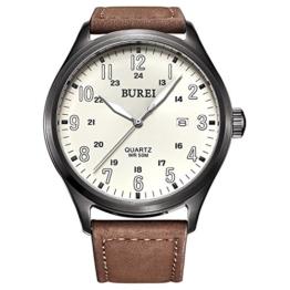 Burei Unisex Quarts Uhr mit weißem Leucht Ziffernblatt und Braunen Lederarmband - 1