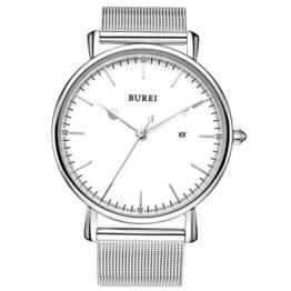BUREI Unisex Ultra Dünne Silberne Minimalistische Quartz-Uhr mit Datumsanzeige und Milanese Armband (Silber) - 1