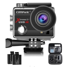 Campark ACT74 Action Kamera WIFI 1080P Sports Cam 4K Camera 16MP Ultra Full HD Helmkamera wasserdicht 170 ° Weitwinkel mit 2 Batterien Transporttasch - 1