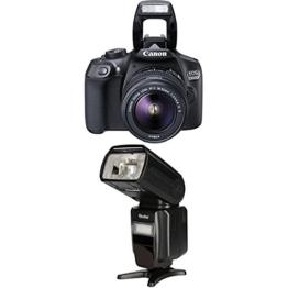 Canon 1160C026 EOS 1300D Digitale Spiegelreflexkamera (18 Megapixel, APS-C CMOS-Sensor, WLAN mit NFC, Full-HD) Kit inkl. EF-S 18-55mm IS Objektiv+Rollei Pro Flash Unit 58F for Canon/ Nikon - 1
