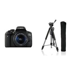 Canon EOS 750 D SLR Digitalkamera (inkl. Objektiv) schwarz + Hama Fotostativ Action 165 3D, anthrazit - 1
