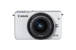 Canon EOS M10 Systemkamera (18 Megapixel, 7,5 cm (3 Zoll) Display, Full HD, STM, WLAN, NFC, 1080p) Kit mit EF-M 15-45mm IS weiß - 1