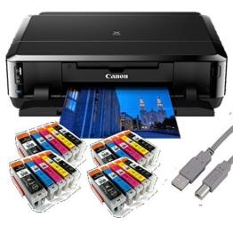 Canon Pixma iP7250 Tintenstrahldrucker mit WLAN Auto Duplex Druck (9600x2400 dpi, USB) + USB Kabel & 20 Youprint Tintenpatronen DRUCKER OHNE SCANNER OHNE KOPIERER Originalpatronen nicht enthalten - 1