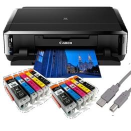 Canon Pixma iP7250 Tintenstrahldrucker mit WLAN Auto Duplex Druck (9600x2400 dpi, USB) + USB Kabel & 10 Youprint Tintenpatronen DRUCKER OHNE SCANNER OHNE KOPIERER Originalpatronen nicht enthalten - 1