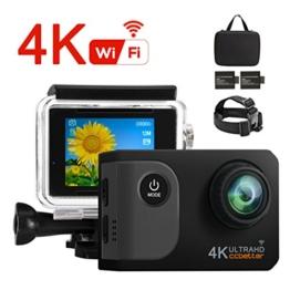 Ccbetter Action Kamera,WIFI Action Cam 4K Sports Cam 20MP Kamera Ultra Full HD Unterwasserkamera Helmkamera wasserdicht 170 Grad Weitwinkel mit 2 verbesserten Batterien Transporttasche und kostenlose - 1