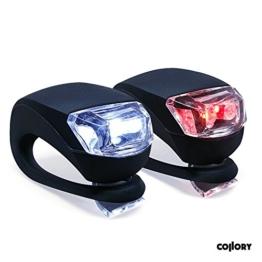 Collory mini LED Silikon-Leuchte 2er-Set inkl. Batterien | Kinderwagen-Beleuchtung | Rollstuhl-Licht | Blink-Lampe | Sicherheitsbeleuchtung | Wasserfest | einfache Montage: Clip-On - 1