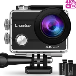 "Crosstour Action Cam WIFI Sports Aktion Kamera 4K Ultra HD 2"" LCD Unterwasserkamera 30M 170 °Ultra-Weitwinkel mit 2 1050mAh Batterien und Zubehör-Kits für Radfahren - 1"