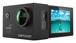 DBPOWER EX5000 Action Cam Wifi Unterwasserkamera 1080P Camera 14MP Ultra Full HD 2,0 Zoll 170 ° Weitwinkel 30 Meter Wasserdicht Kamera  Wasserdicht mit 2 Verbesserten Batterien und 16pcs Zubehör Kits - 1