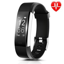 Fitness Armband HR, CAMTOA ID115Plus Fitness Tracker mit Pulsuhr,Smart Gesundheit Aktivitätstracker 0.96'' OLED Sport Armband - Herzfrequenz, Sport-Modus, GPS, Schrittzähler, Schlaftracker, SMS Anrufe, Remote Kamera & Musik für Android iOS Smartphone Smartwatch - 1