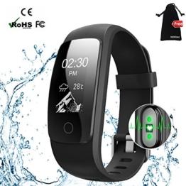 Fitness Armband mit Herzfrequenz,MUXI Fitness Tracker Pulsuhr Aktivitätstracker mit Schlafüberwachung,IP67 Wasserdicht Bluetooth Fitness uhr mit GPS Schrittzähler Kalorienzähler für Android und iOS - 1
