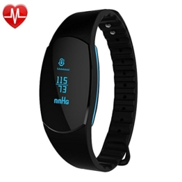 Fitness Tracker Pulsmesser Wasserdicht GanRiver Blutdruckmessung Herzfrequenz Schrittzähler Kalorienmonitor Sport Armband Erinnerung Smart Uhr Push-Message und Anrufer für iPhone und Android Handy - 1
