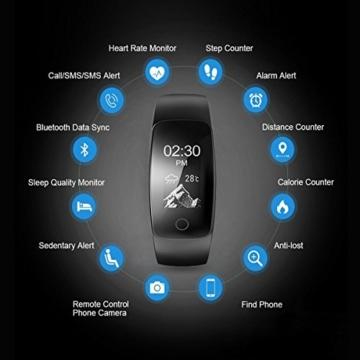 Fitness Tracker,Drillpro ID107Plus Herzfrequenz Pulsuhr Fitnessarmband Aktivitätstracker,Touch-Taste 0.96''OLED Wasserdicht IP67 Sport Armband - Atemführung / Wettervorhersage / Schrittzähler / SMS Anrufe / Wecker / Kalorienzähler / Musiksteuerung / 14 Sport-Modus für iPhone IOS Android (USB Anschluss direkt laden) - 2