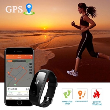 Fitness Tracker,Drillpro ID107Plus Herzfrequenz Pulsuhr Fitnessarmband Aktivitätstracker,Touch-Taste 0.96''OLED Wasserdicht IP67 Sport Armband - Atemführung / Wettervorhersage / Schrittzähler / SMS Anrufe / Wecker / Kalorienzähler / Musiksteuerung / 14 Sport-Modus für iPhone IOS Android (USB Anschluss direkt laden) - 3