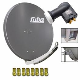 Fuba DAA 850 A Digital Sat Schüssel Anthrazit 85x85cm Full HD 3D TV + LNB Quad 0,1 dB PremiumX PXQS-SE Quattro Switch zum Direktanschluss von 4 Teilnehmern Digital HDTV Full HD 3D tauglich + 8x F-Stecker 7mm vergoldet - 1
