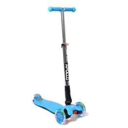 Fun-Scooter - Kids Go LED - für Kinder ab 2, faltbarer Kick-Scooter, Kinderroller bis 60kg belastbar mit verstellbarer Lenkstange und blinkenden LED Flüsterräder, von Apollo - Farbe: blau - 1