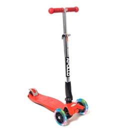 Fun-Scooter - Kids Go LED - für Kinder ab 2, faltbarer Kick-Scooter, Kinderroller bis 60kg belastbar mit verstellbarer Lenkstange und blinkenden LED Flüsterräder, von Apollo - Farbe: rot - 1