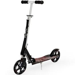 Funsport Scooter Pirate Riding Roller Kinderroller Tretroller Cityroller Kickroller Kickscooter Kinder ✔Tragegurt ✔klappbar✔ABEC7 Kugellager✔205mm PU Rollen ✔schwarz - 1