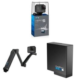 GoPro HERO5 Black Action Kamera (schwarz/grau) mit GoPro 3-Wege Halterung und Akku - 1