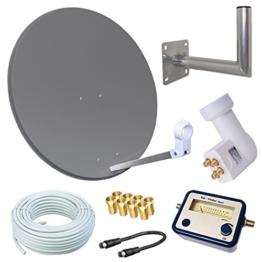 HD Sat Anlage 80cm Spiegel + Opticum Quad LNB für 4 Teilnehmer + 50m Kabel + 40cm Wandhalter + SAT FINDER (3 Farben wählbar) - 1