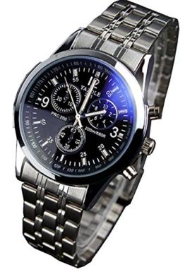 Herren-Armbanduhr Blue-Ray-Glas luxuriös Edelstahlband Datumsanzeige Quarz-Schwarz - 1