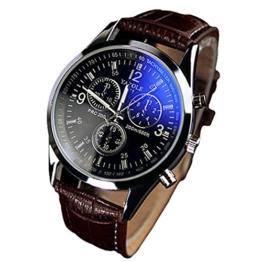 Herren Armbanduhr - YAZOLE Uhren, Herren Armbanduhr Luxusmode leder Blue Ray Glas Analog Quarzhr Chronograph Uhr Braun schwarz - 1