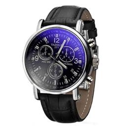 Herren Blue Ray Glas Armbanduhr - YAZOLE Herren Armbanduhr Luxusmode leder Blue Ray Glas Analog Quarzuhr Chronograph Uhr, Schwarz - 1