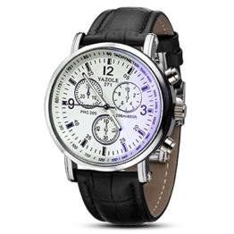 Herren Blue Ray Glas Armbanduhr - YAZOLE Herren Armbanduhr Luxusmode leder Blue Ray Glas Analog Quarzuhr Chronograph Uhr, Weiss - 1