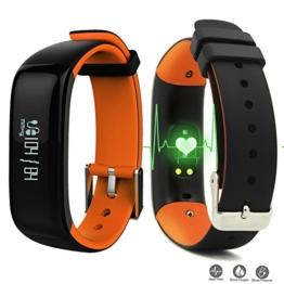 Herzfrequenz Pulsmesser mit Blutdruck,ROGUCI OLED 0.86 Zoll Schrittzähler Pulsuhr Blutdruckmessung,Aktivitätstracker Armbanduhr Fitnesstracker Blutdruckmessgerät mit Bluetooth Verbindung,und Anrufe, SMS, WhatsApp Nachrichten, Twitternachrichten für Android 4.3 Handy oder iOS 8.0 Smartphones - 1