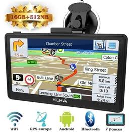 "Hieha 7"" Zoll GPS Navigationsgerät Navi Navigation LKW PKW Bluetooth Europe Traffic Android 16GB 512MB Blitzerwarnungen POI Fahrspur- und Parkassistent lebenslang kostenlose Karte-Updates - 1"
