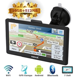 "Hieha 7"" Zoll LKW PKW GPS Navigationsgerät Navi Navigation Europe Traffic Bluetooth Blitzerwarnungen POI Fahrspur- und Parkassistent lebenslang kostenlose Karte-Updates Android 16GB 512MB - 1"