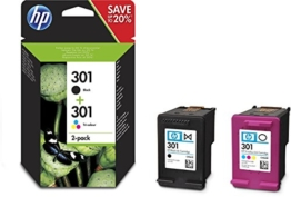 HP 301 Multipack Original Druckerpatronen (1x Schwarz, 1 von drei Farben) für HP Deskjet, HP ENVY, HP Photosmart - 1