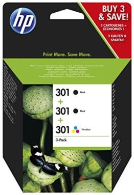 HP 301 Multipack Original Druckerpatronen (2x Schwarz, 1x Farbe) für HP Deskjet, HP ENVY, HP Photosmart - 1