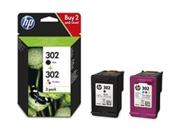 HP 302 Multipack Original Druckerpatronen (Schwarz, Farbe) für HP Deskjet, HP ENVY, HP Officejet - 1