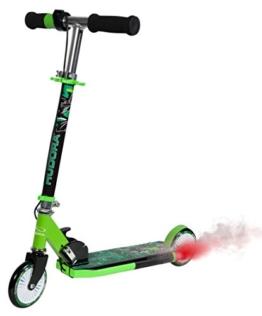 HUDORA Street Dragon, grün, Kinder-Roller, Scooter Kinder mit Motor Sound und Rauchschwaden, 120 mm, 14936 - 1