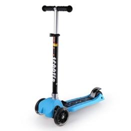 ICOCO Kleinkind Roller Kleinkind Roller Einstellbare Faltbare 3 PU Rad Mini Kinder Kick Scooter mit blinkenden Rad Musik spielen Drei Höhenverstellbare Dual Bremsen (Blau) - 1