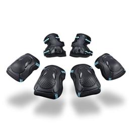 Kinder Protektorenset - Kind Junior Knieschoner Ellenbogenschützer Handgelenkschoner Schutzset für Teenager Erwachsene BMX Skateboard Inline Roller Skate Outdoor Sport Pad Set (Größe S) - 1