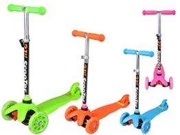 Kinderroller Cityroller Dreirad Roller 3-Rad Tretroller Kinder Farbauswahl #1107, Farbe:Orange - 1