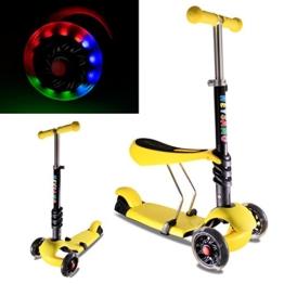 Kinderroller mit LED Blinken Räder-HEYSAMO 3 in 1 Dreiradscooter Sitzscooter für Kinder ab 1,5 Jahre bis 50kg,HS01,2 Jahre Garantie(Gelb). - 1