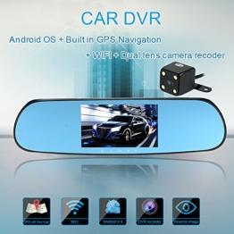 KKmoon 5 Zoll 1080p GPS Navigation WIFI Doppellinse Auto DVR Kamera Recorder mit Karte Android-Smart-System Auto-Rückspiegel Erbaut (AWQ8) - 1