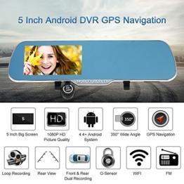 KKmoon 5 Zoll Android Smart-System GPS Navigation Auto R¨¹ckspiegel DVR Doppellinsen Vorne Hinten 1080P 720p-Kamera-Recorder mit G-Sensor Motion Detection Nachtsicht¡ - 1